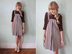 vintage 1960's striped jumper dress