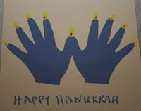 Handprints make a menorah!