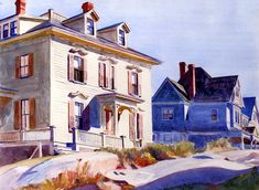 Houses on a Hill (also known as Gloucester Houses), Edward Hopper, 1926 - 1928 American Realism, American Artists, Gloucester House, Monet, Edward Hopper Paintings, Ashcan School, Pintura Exterior, Francis Picabia, Belle Villa