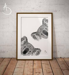 CUTE CURIOUS KOALA Drawing download, Koala Wall decor, Curious Koala Print, Printable Koala Poster, Koala Decor, Curious Animals, Koala Art