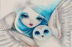 """Schilderij in waterverf en acrielverf van Nico Niemi uit Wisconsin. Het heet """"Owl light""""."""