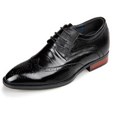 3c4d1f2e320 TopoutShoes - Designer Wing Tip Height Elevator Brogue Shoes Black Taller  2.6inch / 6.5cm