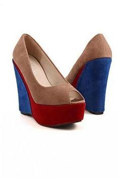cde4ed859277 GrabMyLook Tri Color Suede Punk Rock Open Toe Wedges Platforms High Heels  Shoes Platform High Heels