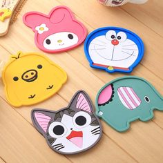 1 Piece silicone dining table placemat coaster kitchen accessories mat cup bar mug cartoon animal drink pads #Affiliate