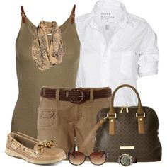 Safari Belted Shorts by daiscat on Polyvore featuring Frank & Eileen, MICHAEL Michael Kors, Sperry Top-Sider, Ivanka Trump, Tommy Hilfiger, A Postcard From Brighton and Christian Lacroix