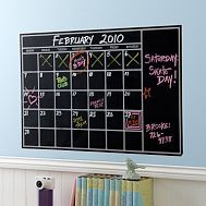 Great idea for a chalkboard paint calendar. Can paint the white dividers in after the chalkboard dries, or draw them in so you can change your mind later...