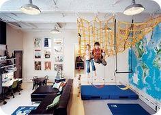 You will love these ideas for creating amazing DIY climbing spaces for kids indoor play areas. Some of these rooms are truly genius with structures you can make yourself. Get started on making an indoor climbing structure the kids will love. Swing Indoor, Kids Indoor Play, Indoor Jungle Gym, Kid Spaces, Play Spaces, Boy Room, Kids Bedroom, Basement Bedrooms, Bedroom Ideas