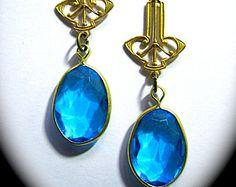 1920s vintage style earrings long Art Deco vivid framed sapphire blue drops gold filled hooks