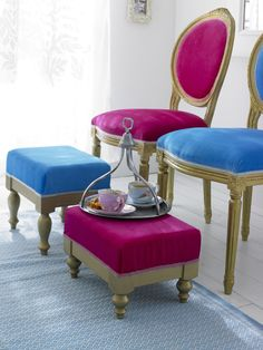 Bright Chairs And Foot Stools