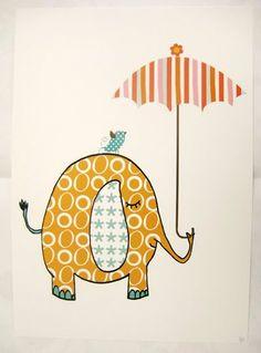 elephant with a bird holding an umbrella shower card