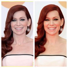 Carrie Preston's GORGEOUS red hair. Natural light & artificial flash photography light. Dimensional and beautiful in both shots. @Jessica Mosqueda  pleaaaase!