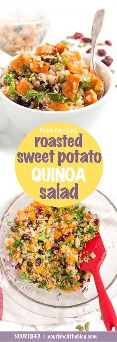 Roasted Sweet Potato Quinoa Salad | recipe | gluten free and vegetarian | easy to make | lunch salad | side dish | dinner | nourishedtheblog.com