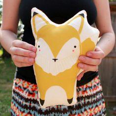 Yellow Fox Pillow