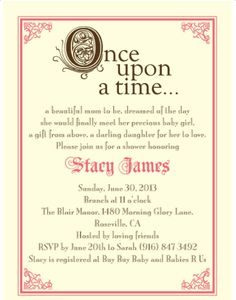 My fairytale baby shower invites.