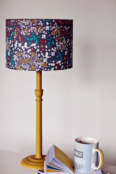 Lamp shade Grey White and Orange Floral 20 cm / 8 inch Cotton Drum Lamp shade