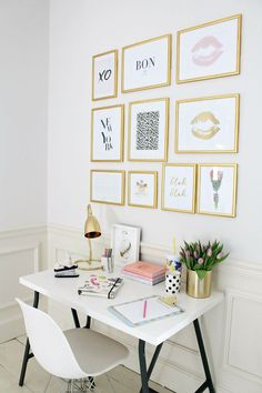 Get Organized With These Home Office Ideas - Dream Home Office Looks to Get You Organized - Small Home Office, Home Office Decor, Desk Decor Small White Desk, White Desks, Home Office Design, Home Office Decor, Home Decor, Office Ideas, Office Inspo, Office Furniture, Bedroom Furniture