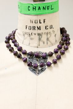 Long Purple Newspaper Bead necklace #A6251698