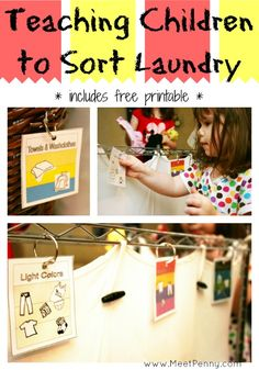 teaching children how to sort laundry with a free printable