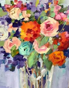 """Daily Paintworks - """"Moxie"""" - Original Fine Art for Sale - © Libby Anderson Folk Art Flowers, Abstract Flowers, Flower Art, Oil Painting Flowers, Oil Painting Abstract, Watercolor Art, Arte Floral, Art Plastique, Fine Art Gallery"""