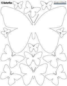 White Butterly Wall Stickers ~Instantly create a beautiful butterfly inspired room with peel & stick butterfly wall decals in white. The decals are made of vinyl, peel & stick removable wall decal appliques. sheet of peel & stick butterfly wall dec Paper Butterflies, Paper Flowers Diy, Beautiful Butterflies, Felt Flowers, Butterfly Template, Butterfly Crafts, Flower Template, White Butterfly, Leaf Template