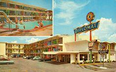 Diplomat Motel in Daytona Beach, Florida Daytona Beach Florida, Florida East Coast, Florida City, Florida Style, Central Florida, Vintage Florida, Old Florida, Florida Location, Vintage Hotels
