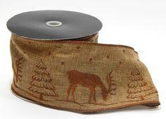 #100 Embroided Moose Burlap 10 Yds Item # 2820217100