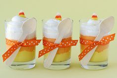 Candy Corn Cheesecake Mousse cups...cause it is never too early to think of wonderful Halloween treats!
