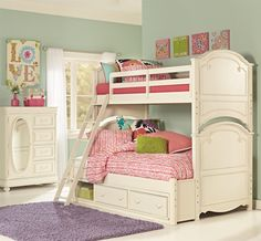 Antique White Twin over Full Bunk Bed with Storage Drawers - With a twin over the bottom full bed, this bunk bed is a a fun way to provide a bed for sisters or sleepover fun. Place the ladder on either end or side depending on how much space you have in the bedroom