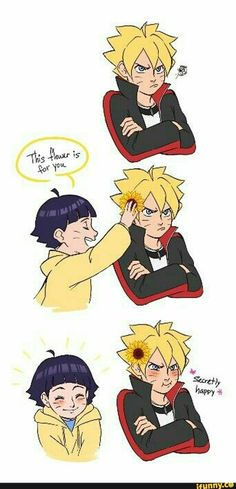 Himawari and Boruto, cute, funny, text Little sisters make big brothers happy once in a while.
