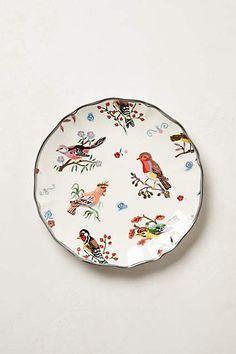 Painted birds dessert plate |Nathalie Lété // via Anthropologie