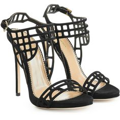 Dsquared2 Suede Stiletto Sandals ($394) ❤ liked on Polyvore featuring shoes, sandals, heels, black, black stilettos, caged sandals, suede sandals, strappy heeled sandals and black caged sandals