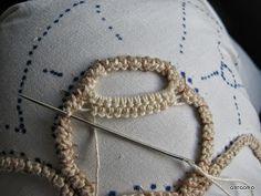 MACRAME' RUMENO - POINT LACE : NUOVO PUNTO - NODO CHIACCHIERINO Pillow Embroidery, Hardanger Embroidery, Hand Embroidery, Irish Crochet, Crochet Lace, Macrame Patterns, Crochet Patterns, Romanian Lace, Hairpin Lace