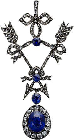 Sapphire, diamond, silver and gold pendant, by Fabergé. Royal Jewelry, I Love Jewelry, Fine Jewelry, Jewelry Design, Edwardian Jewelry, Antique Jewelry, Vintage Jewelry, Edwardian Era, Faberge Jewelry