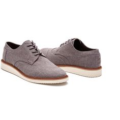 Grey Chambray Men's Brogues (125 CAD) ❤ liked on Polyvore featuring men's fashion, men's shoes, men's oxfords, mens oxford shoes, mens grey shoes, mens shoes, mens brogues and mens gray dress shoes