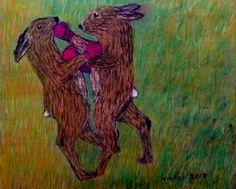 Boxande harar, pastell. Boxing hares, pastel.