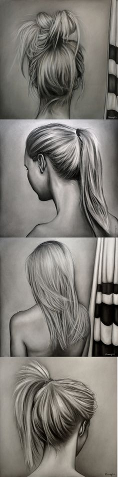 The Roles of Women by Courtney Kenny Porto #hair #realism #women #feminism #courtneykennyart #drawing