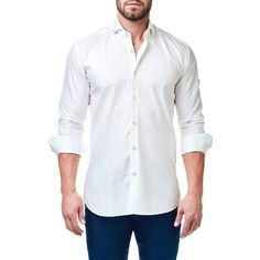 Men's Maceoo Elegance Trim Fit Textured Sport Shirt ($118) via Polyvore featuring men's fashion, men's clothing, men's shirts, men's casual shirts, solid white, mens slim fit shirts, mens slim fit white shirt, mens white button down collar shirts and mens sports t shirts