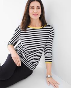 """Classic stripes bolt away from basic in this graphic top colorblocked at the neckline and cuffs.   Back keyhole neckline.  Length: 26"""".  Rayon, spandex.  Machine wash. Imported."""