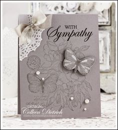 Dietrich Designs - pale gray sympathy card using Hero Arts sentiment, and…