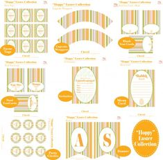 """free """"hoppy easter"""" printables (invite, party circles, favor tags, cupcake wrappers, blank tented cards, food tented cards, menu card, and """"hoppy easter"""" banner) from mj paperie via catch my party"""