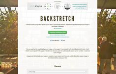 Backstretch (github) is a simple jQuery plugin that allows you to add a dynamically-resized, slideshow-capable background image to any page or element. It will stretch any image to fit the page or block-level element, and will automatically resize as the window or element size changes. Images are fetched after your page is loaded, so your users won't have to wait for the (often large) image to download before using your site.