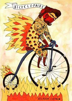 Bike Pride Art Print by Ricardo Cavolo Art And Illustration, Bike Poster, Bicycle Art, Cycling Art, Aboriginal Art, Outsider Art, Religious Art, Surreal Art, Illustrators