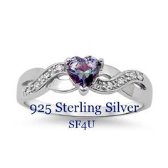 Solid 925 Sterling Silver Infinity Heart Rainbow AAA+ CZ Ring. Starting at $1