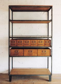 shelving envy + apothecary drawers = love