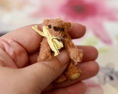 Miniature mohair teddy bear, handsewn artist bear, collectible plush bear, Georgie bear