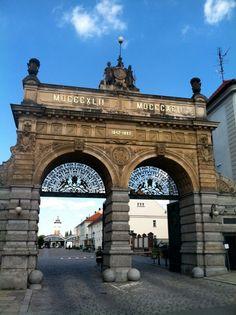 The old gate to Pilsner Urquell brewery, Plzen, Czech Republic
