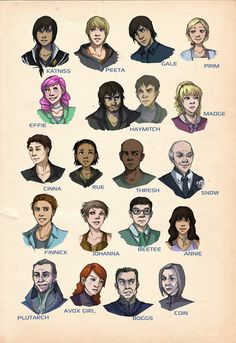 These are almost EXACTLY how I imagined the characters in The Hunger Games. Except for Thresh (I imagined him just like the actor) Finnick had wavier hair in my mind, and coin had longer hair. Plutarch, Haymitch, Madge, and Boggs are spot on!