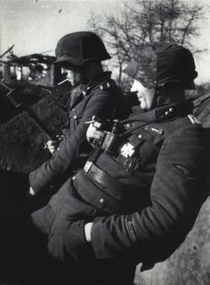 SS-Untersturmführer Paul Barten (foreground) with an SS-Unterscharführer from the Regiment Germania of the Wiking Division in a defensive positions in the spring of 1944. During this time, Wiking Division saw fierce combat in the Kovel sector.