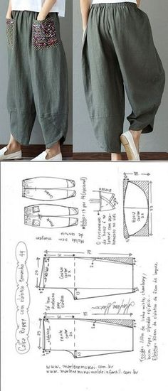 Calça baggy com elástico | DIY - molde, corte e costura - Marlene Mukai Baggy Trousers, Linen Trousers, Free Sewing, Sewing Patterns Free, Sewing Tutorials, Clothing Patterns, Sewing Projects, Sewing Pants, Sewing Clothes