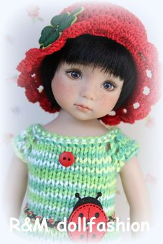 "R&M DOLLFASHION - BRIGHT LINE handknit set for EFFNER LITTLE DARLING 13"" dolls"